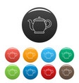 beautiful teapot icons set color vector image vector image