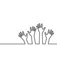 black line hands vector image vector image