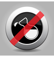 black metallic button-flask with drop banned icon vector image vector image