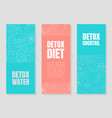 blue and pink layouts for detox flyers vector image vector image