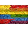 Brick Wall Colombia and Gay flags vector image vector image