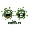 cartoon character cute covid-19 virus vector image