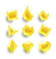 cartoon yellow different shapes crystals vector image