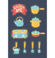 collection of cookware set of kitchenware vector image vector image
