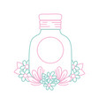 color line mason glass with sticker and flowers vector image vector image