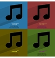 Color set Music note Flat modern web button with vector image