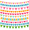 Colorful garlands and bunting flags vector image