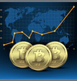 concept growth bitcoin in financial vector image