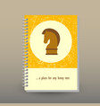 Cover of diary or notebook strategy horse icon vector image