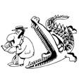 crocodile eats a man vector image