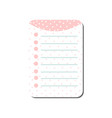 cute card with place for notes in pink colors vector image