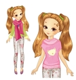 Cute Girl In Pink Pullover vector image