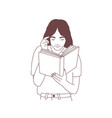 cute young woman reading book or preparing for vector image vector image