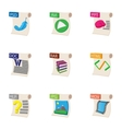 Documents icons set cartoon style vector image vector image