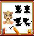 find the correct shadow cute kitten sitting educ vector image