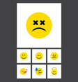 Flat icon emoji set of tears angel smile and