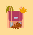 flat icon on stylish background school bag leaves vector image vector image