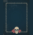 frame thorns with two roses and a skull on its vector image