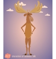 Funny cartoon standing elk vector image
