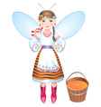 Girl bee with a bucket of honey