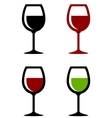 glossy wine glasses set vector image vector image