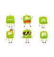 green humanized purse collection wallet cartoon vector image vector image
