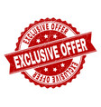 grunge textured exclusive offer stamp seal vector image