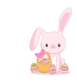 Happy Easter cartoon cute bunny and eggs Holiday vector image