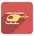 Helicopter Flat Rounded Square Icon with Long vector image vector image