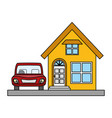 house property with car vector image