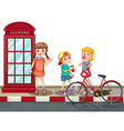 Kids standing on the street vector image vector image