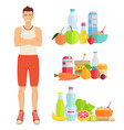 man and healthy lifestyle vector image