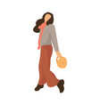 modern cartoon woman walking girl going to park vector image