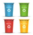 multicolored recycling bins 3d realistic vector image vector image