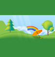 nature spring landscape with green trees rainbow vector image vector image