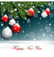new year tree branches on the postcard background vector image vector image