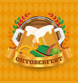 oktoberfest beer festival badge and background vector image