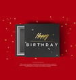 opened black cardboard package mock up box gift vector image vector image