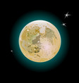 realistic full moon amber color and three little vector image
