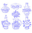 set fresh and natural milk emblems vector image vector image