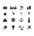 set of travel relax icons vector image vector image