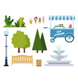 set urban park objects flat vector image