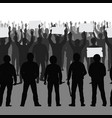 silhouettes protesting people with hands and vector image vector image