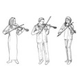 sketch of man and women playing the violins vector image vector image