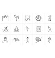 sports and fitness hand drawn outline doodle icon vector image vector image