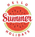 summer banner with a funny watermelon vector image vector image