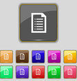Text file icon sign Set with eleven colored vector image vector image
