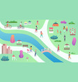 top view of city public park with river bridge vector image vector image