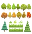 Trees and grass flat icons set vector image vector image