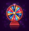 wheel of fortune with glowing lamps for online vector image vector image